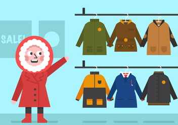 Vector Winter Coat for Girls - Free vector #357839