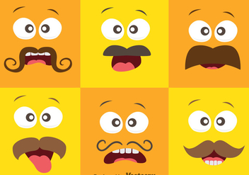 Face Expression With Mustache Vector - vector gratuit #357929