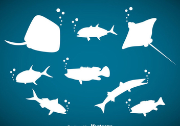 Ocean Animals Silhouette Vector - бесплатный vector #357949