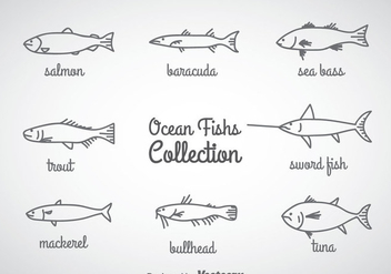 Ocean Fish Linear Icons Vector - vector gratuit #357969