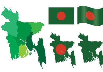 Bangladesh Map and Flag Vector Set - Free vector #358039