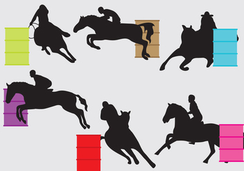 Barrel Racing Silhouettes - vector gratuit #358179