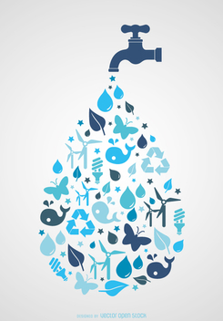 World Water day - Tap with icons - vector #358329 gratis