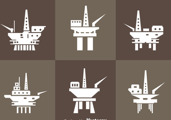 Oil Rig Offshore Icons - Free vector #358399