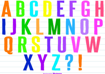 Colorful Hand Painted Style Vector Alphabet Set - vector gratuit #358469