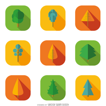 9 tree icons - Free vector #358489