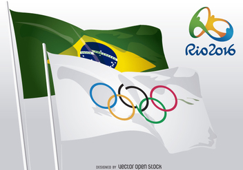 Rio 2016 - Olympic rings and Brazilian flags - vector gratuit #358499