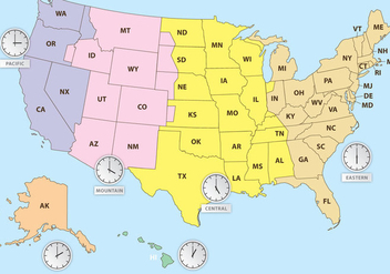 Time Zones Of US Map - vector gratuit #358559