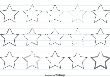 Cute Hand Drawn Star Shape Set - Kostenloses vector #358589