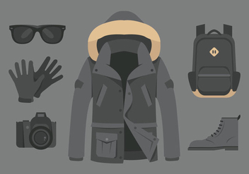Vector Gray Raincoat and Accessories - бесплатный vector #358639