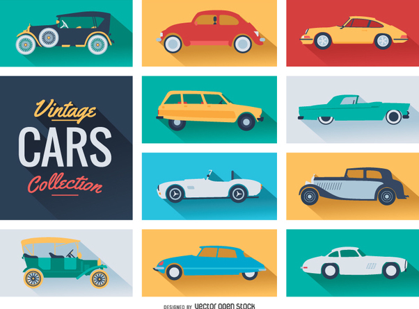 Vintage cars collection - vector gratuit #358729
