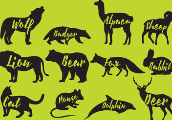Mammals Silhouettes With Names - vector gratuit #358779