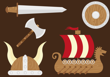 Viking Ship Sword Hatchet Shield Helmet - vector #358799 gratis