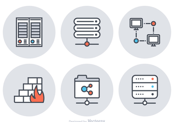 Free Server Flat Line Vector Icons - Kostenloses vector #359059