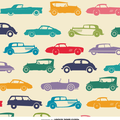 Vintage car tileable wallpaper - Free vector #359069