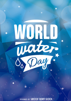 World Water Day emblem over a blue background - vector gratuit #359079