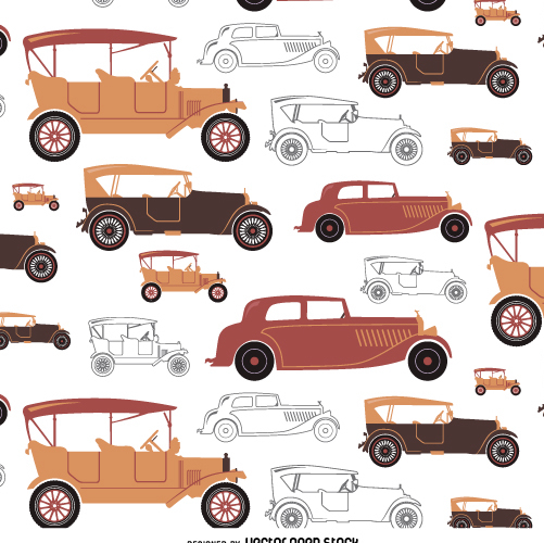 Vintage car tileable in warm tones - Free vector #359089