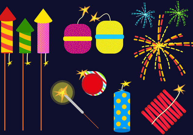 Fire Crackers Set Illustration Vector - Free vector #359229