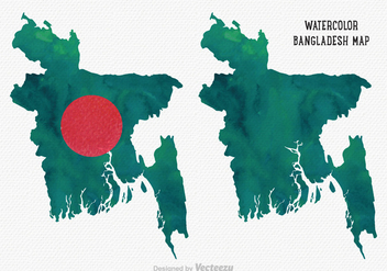 Free Vector Watercolor Bangladesh Map - Free vector #359309