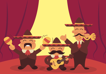 Mariachi Cartoon Funny Illustration Vector - Free vector #359449