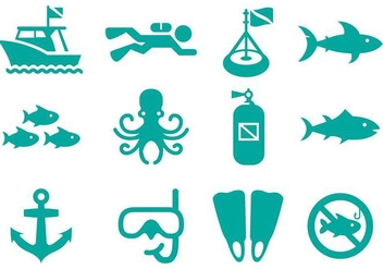 Dive Flat Icon Vector - бесплатный vector #359479