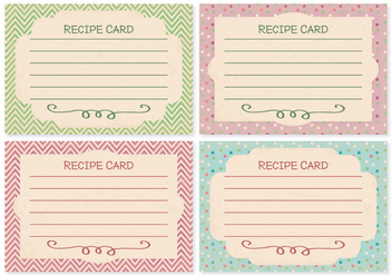 Retro Style Recipe Card Set - vector gratuit #359729