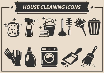 House Cleaning Vector Icons - Free vector #359739