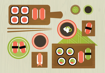 Vector Sushi Food Illustration - Free vector #359759