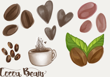 Cocoa Beans and Mocha Vector Set - Free vector #359879