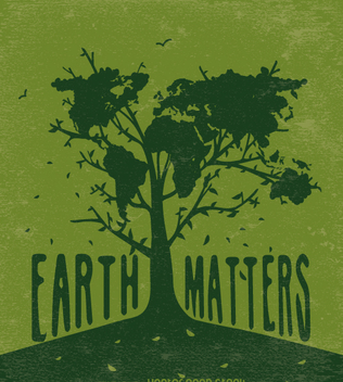 Earth matters-Tree with world map in green - Free vector #360039