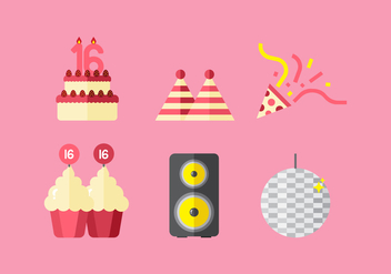 Vector Sweet 16 Icons - Free vector #360099