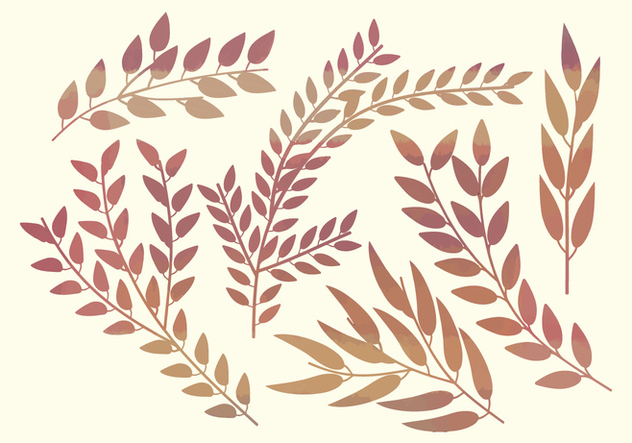 Watercolor Vector Branches - vector gratuit #360469