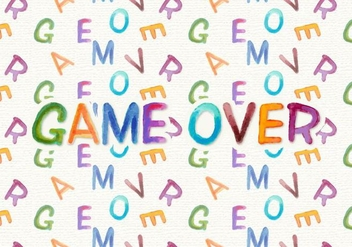 Game Over Free Watercolor Vector Background - vector gratuit #360629