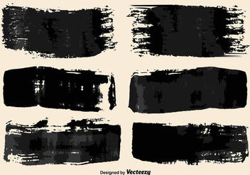 Vector Black Paint Brush Strokes - vector gratuit #360699