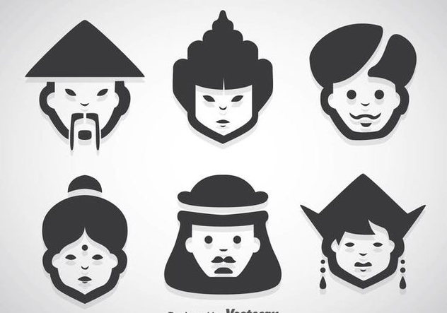 Asian People Character Vector Sets - бесплатный vector #361049