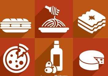Italian Food White Icons - vector gratuit #361059