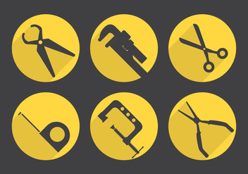 Set Of Vector Icons Of Working Tools - vector gratuit #361119