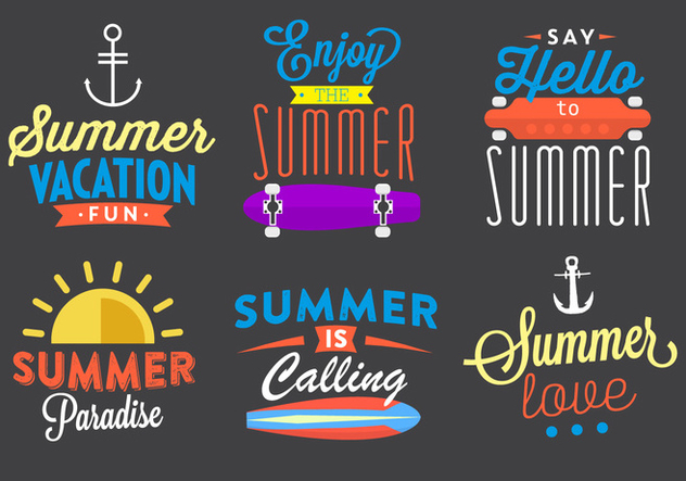 Typographic Summer Vector Elements - бесплатный vector #361129