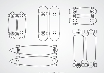 Skateboard Outline Icons - Free vector #361209