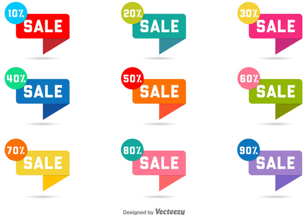 Vector Sale Labels With Discounts - Free vector #361289