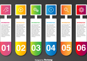 Vector Labels With Icons And 6 Steps - vector #361319 gratis