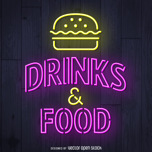 Drinks and food neon sign - Kostenloses vector #361349