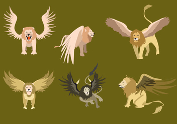 Winged Lion Illustration Vector - Free vector #361409
