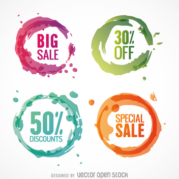 Colorful circle discount vectors set - бесплатный vector #361439