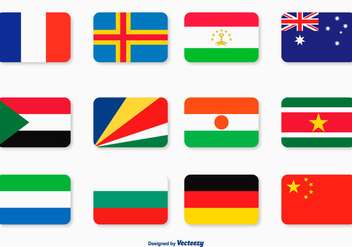 Flat Flag Icon Set - vector gratuit #361579