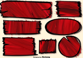 Red Vector Hand-drawn Textured Banners - бесплатный vector #361619