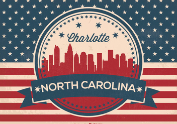 Charlotte North Carolina Skyline Illustration - vector gratuit #361789