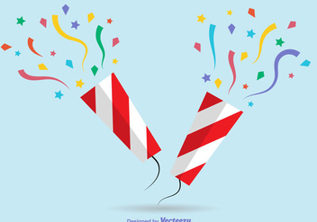 Colorful Flat Party Poppers - Kostenloses vector #361869