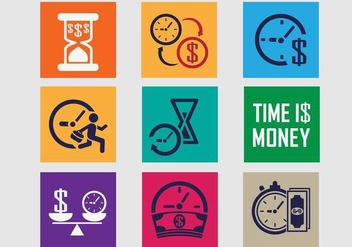 Time Is Money Icon Vector Pack - vector gratuit #361879