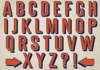 Retro Style Alphabet Set - vector #362099 gratis